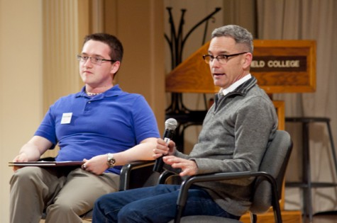 Curt Shepard, director of children, youth, and family at the Los Angeles Gay and Lesbian Center, discusses homophobia with former Fusion Club president senior Jesse Aerni on May 17 in Ice Auditorium.