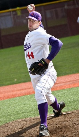 K.C. Wiser, class of '11, winds up for the pitch in his only game of the 2011 season. Photo courtesy of E.C. Mueller.