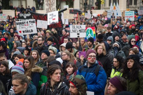 Portlanders protest in downtown on Inauguration Day