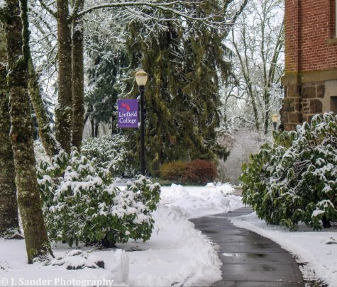 Linfield gets blanketed in snow during Jan Term