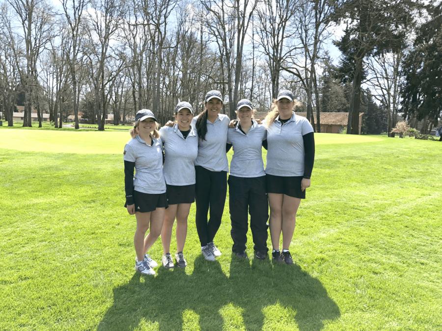 From left: Katy Mahr, '19, Tiana Yamaoka, '18, Nikki Kerns-Kovac, '18, Cassidy Schutz, '20, and Madeline Rice, '18.