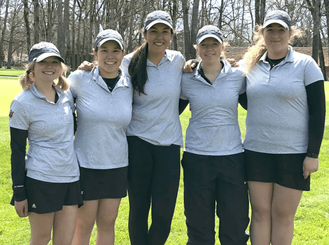From left: Katy Mahr, '19, Tiana Yamaoka, '18, Nikki Kerns-Kovac, '18, Cassidy Schutz, '20, and Madeline Rice, '18.