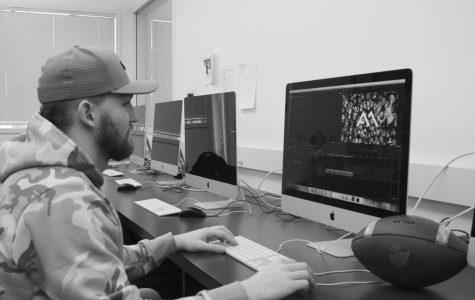 Clark Hazlett edits his intro for an upcoming video.