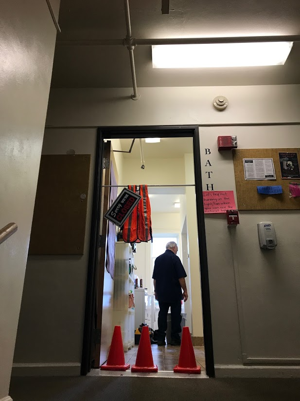 Handicapped shower stall in Pioneer bathroom under construction after a student expressed concern of black mold affecting her health. Facilities workers made effort to repair the shower quickly.