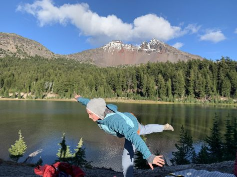 Marianna Kemp, freshman, brings zen to the group of backpackers as they embark on the second part of their backpacking in Bend trip.