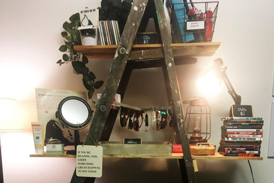 A repurposed ladder with wood planks works as a shelf display for various items in the small room the Cat Closet resides in.