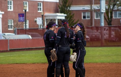 The Wildcats huddle around the mound on Saturday, February 29th, 2020.