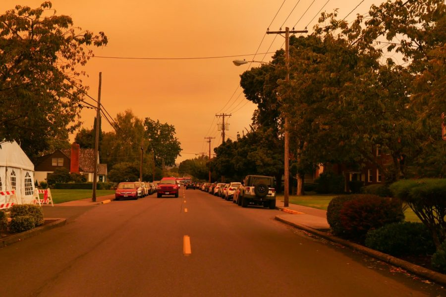 An orange sky turned familiar places, like Linfield Ave., into scenes reminiscent of post-apocalyptic movies such as Blade Runner.