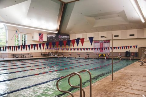 The pool remains calm in between practices sessions.