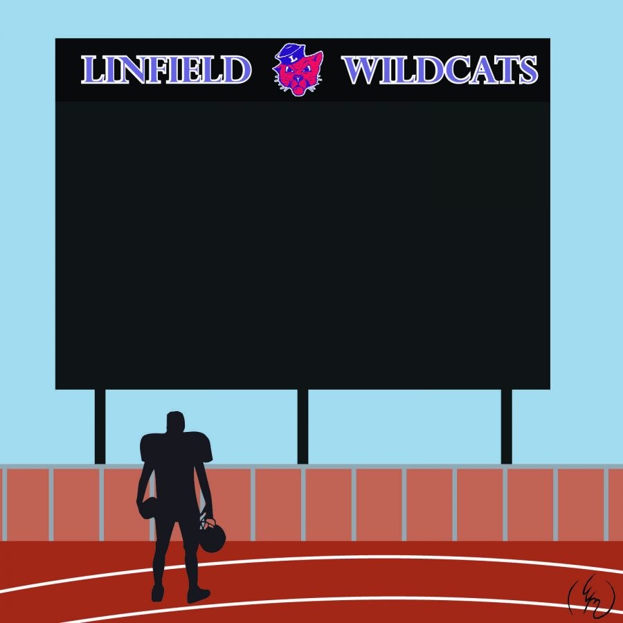Linfield's record-breaking video board dominates the view from Memorial Stadium.