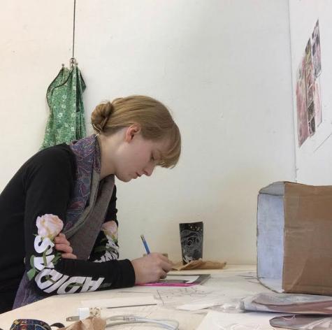 Weber in her studio